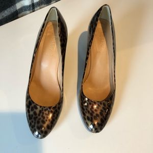 J crew leopard patent leather wedge heel.